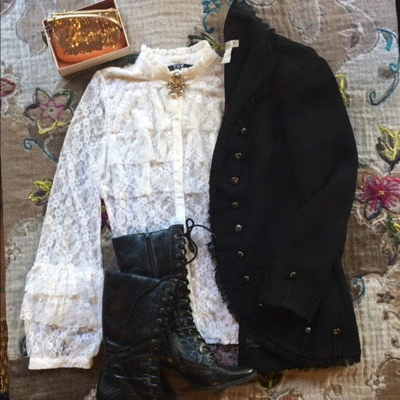 TOV Holy Tops - Ruffle Lace Blouse
